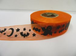 2 or 20 metres 25mm Orange Halloween Sheer Organza Ribbon Ghost Pumpkin Roll Craft